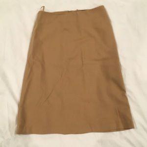 Gap tan calf length a line lined wool skirt size 4